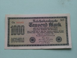 TAUSEND MARK Berlin 1922 / N° Ga 583042 - KH   ( For Grade, Please See Photo ) ! - [ 3] 1918-1933 : Repubblica  Di Weimar