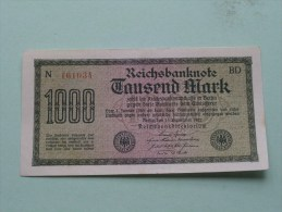TAUSEND MARK Berlin 1922 / N° N 161034 - BD   ( For Grade, Please See Photo ) ! - [ 3] 1918-1933 : République De Weimar