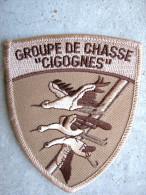 INSIGNE TISSUS PATCH ARMEE DE L'AIR ESCADRON DE CHASSE 01.002 CIGOGNES ETAT EXCELLENT