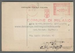 C317 Affrancatura Meccanica Rossa 1952 COMUNE DI MILANO CARTOLINA MUSEO CIVICO DI STORIA NATURALE - Affrancature Meccaniche Rosse (EMA)