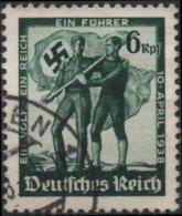 ALLEMAGNE DEUTSCHES III REICH 606 (o) Plébiscite Réunion Allemagne Autriche 10 Avril 1938 Croix Gammée Svatiska 2 - Oblitérés