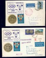 BL5-103 GREECE 1967-68 3 COVERS, 1 CARD OLYMPICS GRENOBLE, MEXICO, OLYMPIC ACADEMY. - Zomer 1968: Mexico-City