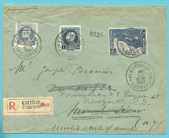 213+215+252 (surtaxe/toeslag) Op Brief Aangetekend Met Stempel KORTRIJK Naar MOUNT KISCO (U.S.A.) !(port Juist) - 1921-1925 Petit Montenez