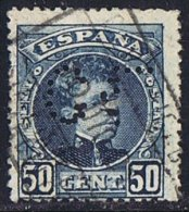 Tipo Cadete   50 Cts  Ed 252  Perforado    « CL »  Perfin - 1889-1931 Reino: Alfonso XIII