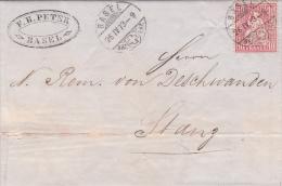 No 38 Sur Lettre Oblitérée BASEL Le 26.IV.73 à Destination De STANS - 1862-1881 Sitted Helvetia (perforates)