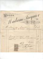 Facture , 21.5 X 21 Cm , Timbrée , Madame JACQUIER , 36 Rue Ste Placide , Paris , Modes , 1896 , Frais Fr : 1.80€ - Invoices & Commercial Documents