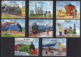 Grenada  Mi. 2122 / 2129  Mickey Mouse Dampflokomotiven   ** / MNH - Trains