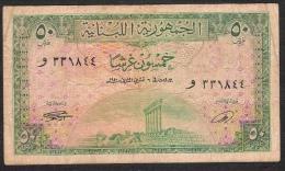 LEBANON LIBAN P43  50  LIVRES   1950  AVF   NO P.h. /NO Tear ,only Folds ! ! - Liban
