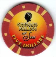 Jeton De Casino Croisière : Crystal Cruises : Caesars Palace At Sea $5 - Casino