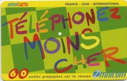 FRANCE - OMNICARTE TELEPHONEZ MOINS CHER - 60 U  (USAGÉ) - France