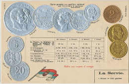 Gold And Siver Coins From Serbia La Servie ,  Servia 2 Cards Flag Embossed Gauffrée - Serbie