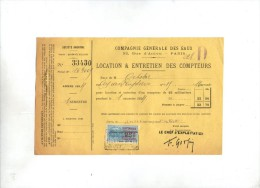 Compagnie Générale Des Eaux , Paris , Reçu , 1924 , Timbré , Location & Entretien Des Compteurs , Frais Fr : 1.80€ - Factures & Documents Commerciaux