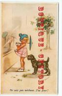 """GERMAINE BOURET """" NE SOIT PAS MECHANT J'AI PEUR """" < CHIEN < DOG < CARTE AUTHENTIQUE D'EPOQUE < DOS SCANNE - Bouret, Germaine"""