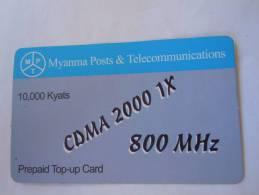 Myanmar Birmanie Burma Birma CDMA 2000 1X 800 MHz 10000 KYATS Mobile GSM Prepaid TOP UP Card EXP: No Date - Myanmar