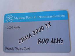 Myanmar Birmanie Burma Birma CDMA 2000 1X 800 MHz 10000 KYATS Mobile GSM Prepaid TOP UP Card EXP: No Date