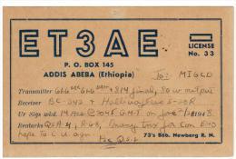ADDIS ABEBA - ETIOPIA CARTOLINA QSL CARD RADIO AMATORE 1948  - ETIOPIA - ET3AE - Bob Newberg - Radio Amatoriale