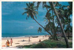 Colva Beach Goa India Postcard Used Posted To UK 1990s Stamp - India