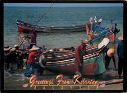 Fishing Boats Beach Kelantan Malaysia Postcard Used Posted To UK 1998 THAILAND Stamp - Malaysia