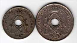 Belgique : 10 Centimes 1927 & 25 Centimes 1923 : Albert I : Français - 1909-1934: Albert I