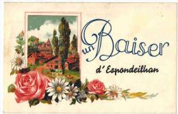 """HERAULT FANTAISIE ESPONDEILHAN  :  """" Un Baiser D'Espondeilhan """" - Verso Souvenir Anniversaire De Ses 20 Ans - Other Municipalities"""