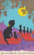 Belle CPA Illustrée  CHATS NOIRS  Sur Les TOITS Au Clair De LUNE  Je Vous Présente Mon Petit Dernier !!! - Cats
