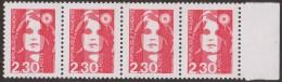 MARIANNE DE BRIAT..variété Sur N° 2614c YT : 2,30 F Sans Barres Phosphorescentes 4 Exemplaires Signés. - 1989-96 Bicentenial Marianne
