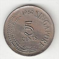 *singapore 5 Cents 1969 Km 2    Unc - Singapour
