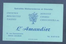 CARTE COMMERCIALE L' AMANDIER - SPECIALITES MEDITERRANEENNES ET ORIENTALES COUCOUS TAGINES ... - SAUMUR - Visiting Cards