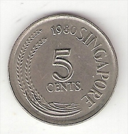 Singapore 5 Cents 1980 Km 2    Unc - Singapour