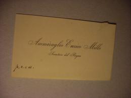 """Biglietto Da Visita Ammiraglio Enrico Millo """"Senatore Del Regno"""" - Non Classificati"""