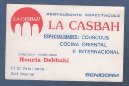 RESTAURANTE ESPECTACULO LA CASBAH - COUSCOUS COCINA ORIENTAL E INTERNACIONAL - BENIDORM - Tarjetas De Visita