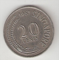Singapore 20 Cents 1967 Km 4  Xf+ - Singapour