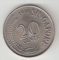 Singapore 20 Cents 1981 Km 4  Unc - Singapour