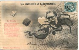 La Mouche Et L'araignée - Illustrateur - Phototypie A.Bergeret - Surréalisme - 2 Scans - Bergeret