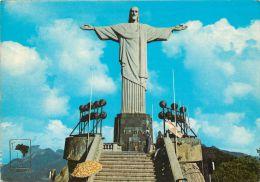 Cristo Redentor, Rio De Janeiro RJ, Brazil Brasil Postcard Used Posted To UK 1985 Meter - Rio De Janeiro