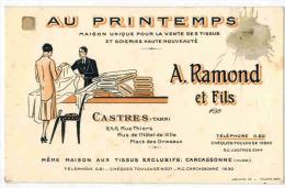 CARTE DE VISITE : AU PRINTEMPS Magasin Vente De Tissus Et Soieries Haute Nouveauté Castres Carcassonne A RAMOND Et FILS - Visitekaartjes