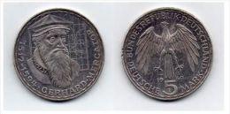 Moneta Da 5 Marchi Del 1969 - Con Immagine Di Gerhard Mercator - 5 Marchi