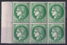 FR 82 - FRANCE N°375 Type Cérès En Blocf De 6 Bord De Feuilloe Neuf** - Unused Stamps
