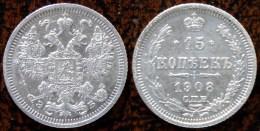 (J) RUSSIA: Silver 15 Kopeks 1908 AU (480)  SALE!!!!!! - Rusia
