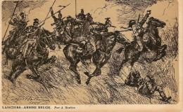 ARMEE BELGE-REGIMENT DES LANCIERS-illustrateur Alfred Bastien-militaires à Cheval - Régiments