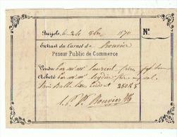 PESEUR PUBLIC De COMMERCE Mr BOUVIER à BARJOLS (VAR)  1870 - 1800 – 1899