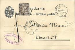 PK 12  Schweizerhalle - Arnstadt D            1881 - Interi Postali