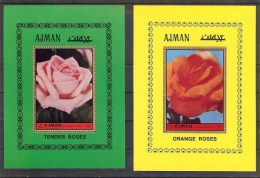 AJMAN Roses  Set 2 S/Sheets  MNH - Plants