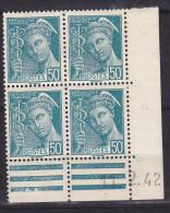 FRANCE N° 538 50C TURQUOISE TYPE MERCURE COIN DATE DU 11.2.1942 NEUF SANS CHARNIERE - Coins Datés