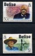 BELIZE     1974    Birth  Cent  Of  Winston  Churchill   Set  Of  2    MNH - Belize (1973-...)