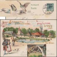 Allemagne 1897. Entier Postal TSC. Leipzig, Sächsisch-Thüringische Industrie Und Gewerbe Ausstellung, Moineaux, Moulin - Moineaux