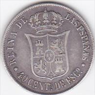ESPAGNE . 40 CENTIMOS DE ESCUDO 1864. ISABEL II . ARGENT - [ 1] …-1931 : Kingdom