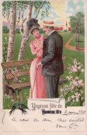 Couple, Joyeuse Fête, Litho (7601) - Couples