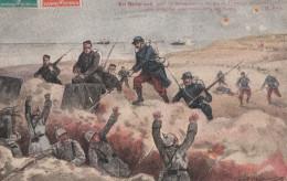 CPA Illustrée GUERRE SOLDATS  NIEUPORT Dunes Français Et Belges Prennent Une TRANCHEE ALLEMANDS Casques à Pointe 1917 - Guerra 1914-18