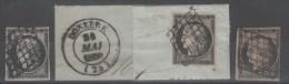 Cérès  N° 3/3a/3b Avec Oblitèration Grille De 1849  TTB - 1849-1850 Ceres